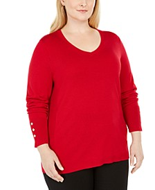 Plus Size Button-Cuff V-Neck Sweater, Created for Macy's