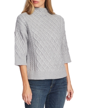 Vince Camuto Sweaters FUNNEL-NECK FISHERMAN SWEATER