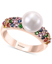 EFFY® Multi-Gemstone (7/8 ct. t.w.) & Cultured Freshwater Pearl (8mm) Statement Ring in 14k Rose Gold
