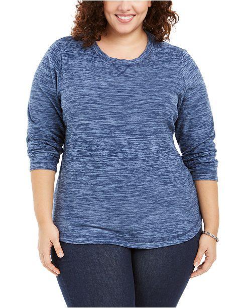 Karen Scott Plus Size Marled Microfleece Top, Created for Macy's