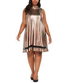 Plus Size Metallic Illusion Trapeze Dress