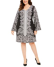 Plus Size Printed Jersey Bell-Sleeve Dress
