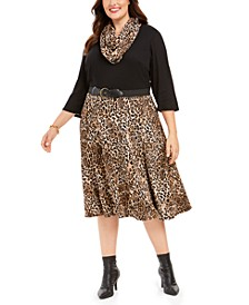 Plus Size Belted Solid & Animal-Print Sweater Dress & Scarf