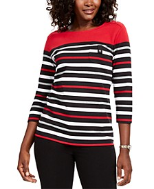 Sport Striped 3/4-Sleeve Top, Created for Macy's