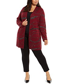 Plus Size Sequin-Swirl Cardigan Sweater, Created For Macy's