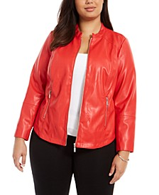 Plus Size Faux-Leather Jacket, Created For Macy's