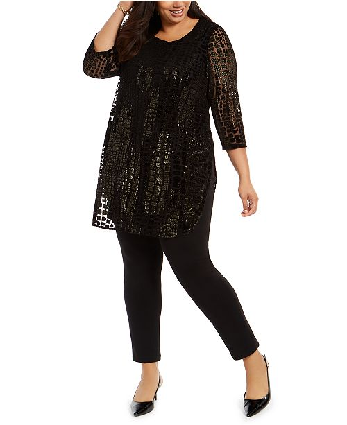 Plus Size Flocked Metallic Tunic, Created For Macy\'s