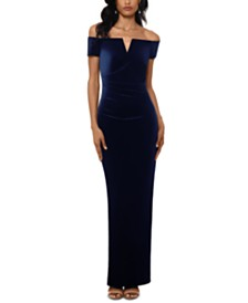 XSCAPE Petite Off-The-Shoulder Velvet Gown