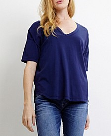 Womens Elbow Sleeve V-Neck Dolman T-Shirt
