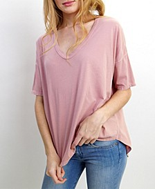 Womens Cotton Elbow Sleeve V-Neck Dolman