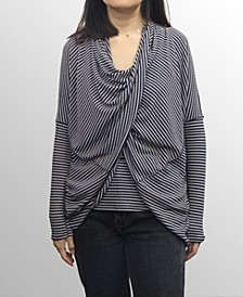 Womens Rayon Blend Stripe Twist Back Convertible Cardigan