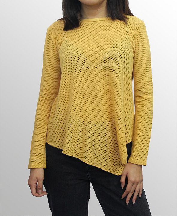 COIN 1804 Womens Cotton Mesh Asymmetric Hem Long Sleeve