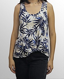 Womens Leaf Print Twist Tank