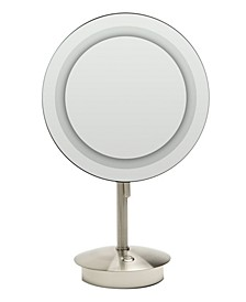 Nickel Tabletop Round 5x Magnifying Cosmetic Mirror with Light