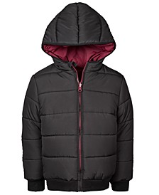 Little Boys Reversible Water-Resistant Hooded Puffer Jacket, Created For Macy's
