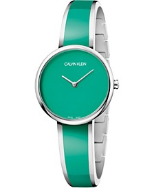 Women's Seduce Stainless Steel & Green Resin Bangle Bracelet Watch 30mm