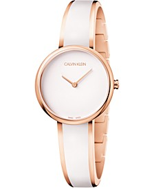 Women's Seduce Pink Gold-Tone PVD Stainless Steel & White Resin Bangle Bracelet Watch 30mm