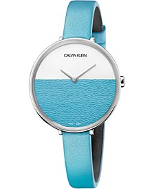Women's Rise Turquoise Leather Strap Watch 38mm