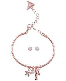 Crystal Star Bangle Bracelet & Stud Earring Gift Set