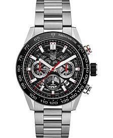 Men's Swiss Automatic Chronograph Carrera Stainless Steel Bracelet Watch 45mm