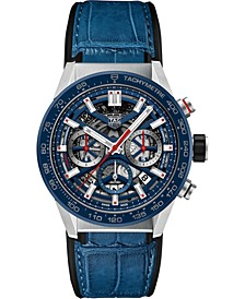 Men's Swiss Automatic Chronograph Carrera Blue Leather Strap Watch 43mm