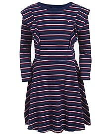 Little Girls Striped Ruffled Dress