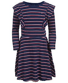 Tommy Hilfiger Toddler Girls Striped Ruffled Dress