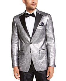 Men's Slim-Fit Silver Metallic Dinner Jacket