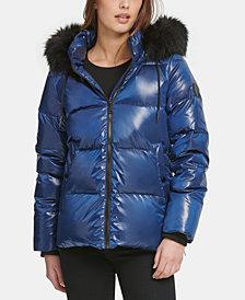 DKNY High-Shine Faux-Fur-Trim Puffer Coat