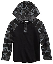 Little Boys Camo Colorblocked Thermal-Knit Hooded Henley, Created For Macy's