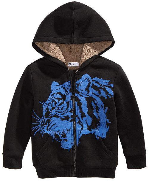 Epic Threads Toddler Boys Fleece-Lined Tiger-Print Full-Zip Hoodie, Created For Macy's