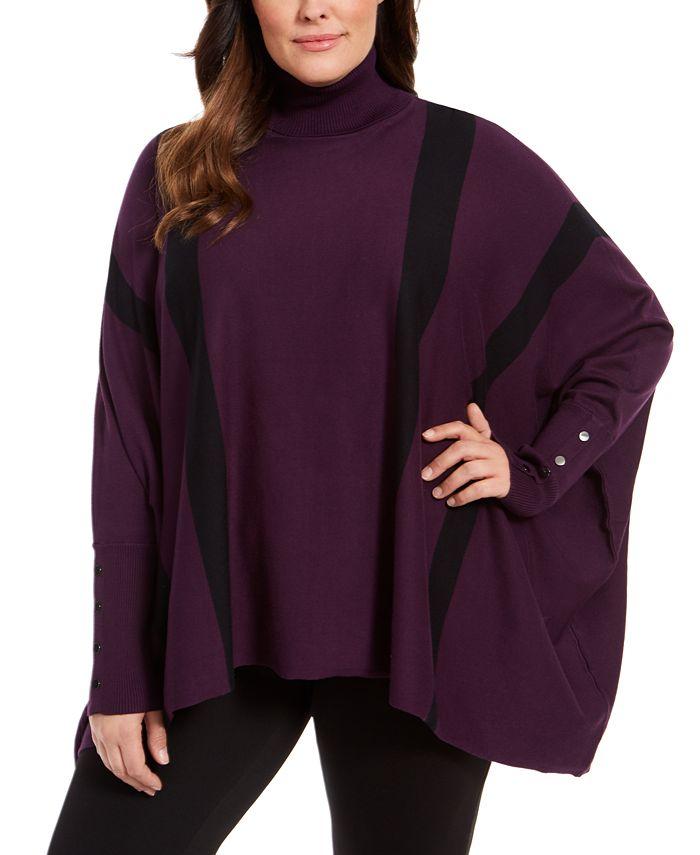 Alfani - Plus Size Striped Poncho Sweater