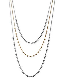 "Two-Tone Layered Strand Necklace, 22"" + 2"" extender"