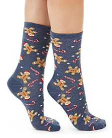 Women's Gingerbread Candy Cane Crew Socks, Created For Macy's