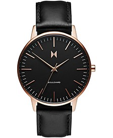 Women's Boulevard Santa Monica Black Leather Strap Watch 38mm