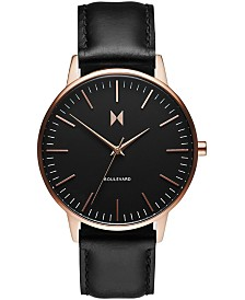 MVMT Women's Boulevard Santa Monica Black Leather Strap Watch 38mm