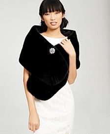 Faux-Fur Embellished Shawl