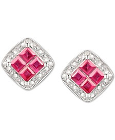 Ruby (5/8 ct. t.w.) & Diamond (1/20 ct. t.w.) Square Stud Earrings in Sterling Silver