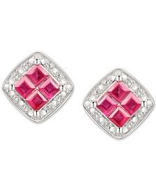 Ruby (5/8 ct. t.w.) & Diamond (1/20 ct. t.w.) Square Stud Earrings in Sterling Silver