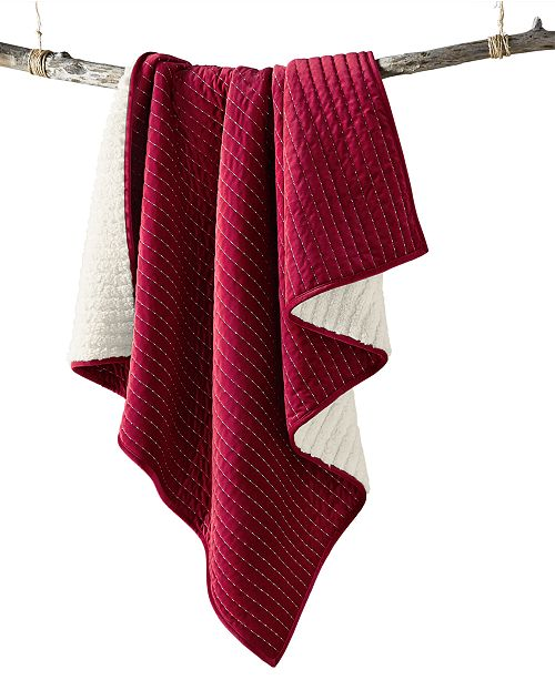 Martha Stewart Collection Velvet Channel Stitch Throw, Created For Macy's