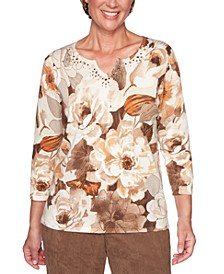 Walnut Grove Etched Floral-Print Cotton Sweater