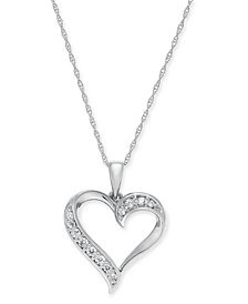 "Diamond Heart 18"" Pendant Necklace (1/6 ct. t.w.) in 14k Gold (Also available in 14k White or Rose gold)"