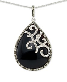 """Onyx (27 x 96mm), Marcasite & Crystal Teardrop 18"""" Pendant Necklace in Sterling Silver"""