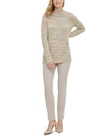 Mock-Neck Marled-Knit Sweater