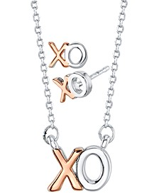 XO Stud Earrings and Pendant Necklace Set in Two-Tone, Created For Macy's