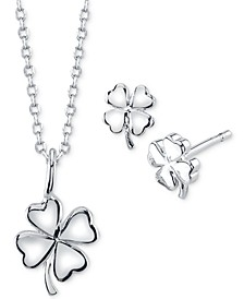 Mini Clover Pendant Necklace and Stud Earrings in Fine Silver-Plate Set, Created for Macy's