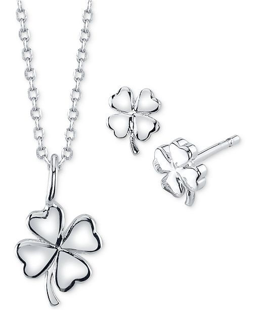 Unwritten Clover Pendant Necklace and Stud Earrings in Fine Silver-Plate, Created For Macy's