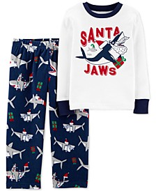 Toddler Boys 2-Pc. Santa Jaws Pajamas Set