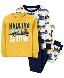 Toddler Boys 4-Pc. Cotton Snug-Fit Truck Pajamas Set