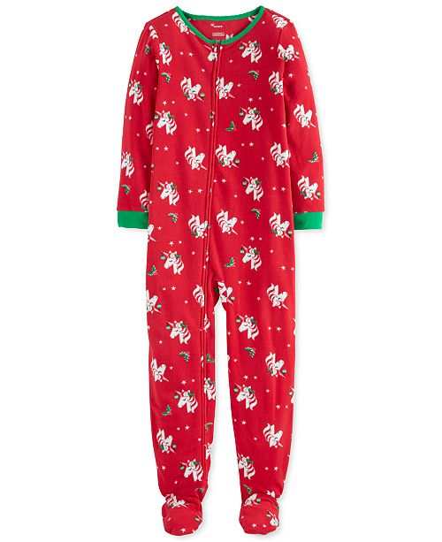 Carter's Little & Big Girls Footed Fleece Unicorn Pajamas